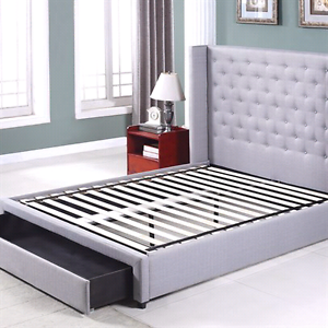 Gray upholstery queen fabric bed . free delivery Harrison Gungahlin Area Preview