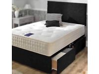 New Double Divan Bed Base with Headboard !! Drawers & Mattress (Optional)
