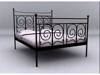 Ikea Noresund Black Iron Framed Double Bed