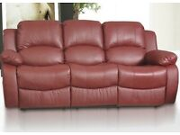 Brand New 3 Seater Real Leather Recliner Red Valentine Sofa Can Deliver and Assemble Reclining Sofa