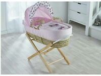 Pink Butterfly Plam moses basket with opal Folding stand. Brand new sealed packs and boxs. 5 plc