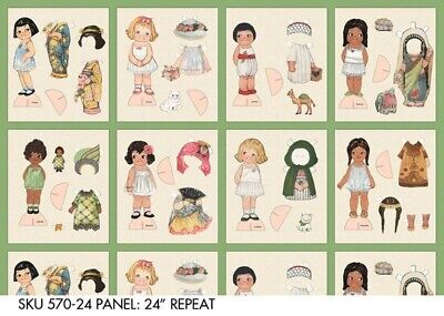 "Ethnic Paper Doll Fabric panel 24"" x 44"" wide NEW 8 Dolly Dingle cotton quilting Cotton Quilting Fabric Panel"