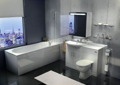 Complete 1700 Bathroom Suite 1100 White Furniture Combination Bath panels Toilet