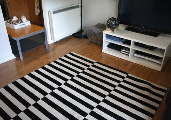 ikea stockholm rug striped black and white in reading berkshire gumtree. Black Bedroom Furniture Sets. Home Design Ideas