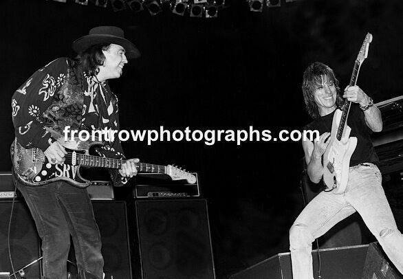 Stevie Ray Vaughan and Jeff Beck BW Photo