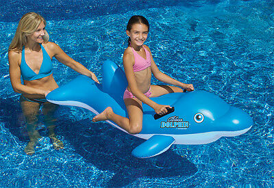 Inflatable Dolphin (Blue DOLPHIN Stable Ride On FLOAT Swimming POOL Beach Inflatable Vinyl)