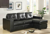 LEATHER L SHAPE SOFA WITH LOUNGER...NEW!