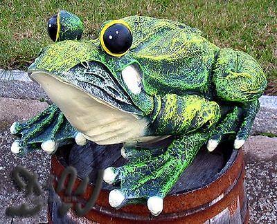 FROSCH KRÖTE grün 45 cm Deko Garten Figur Tier MÄRCHEN Skulptur TEICH