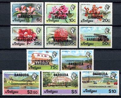 Barbuda 1981 Unabhängigkeit Pflanzen Ansichten Blüten Freimarken 583-93 MNH