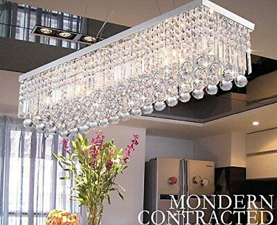 - Rectangular Genuine Crystal Glass Lighting 5 Lights Ceiling Fixture Chandeliers