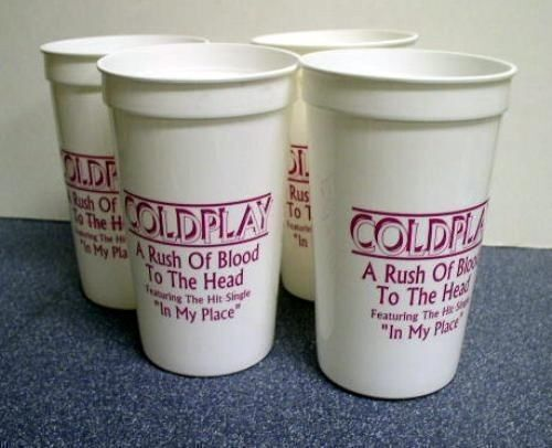 COLDPLAY 2002 rush of blood promo set of 4 drinking cups Flawless NEW old stock