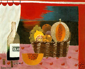 Red Sunset by Mary Fedden RA - (still life in a window)
