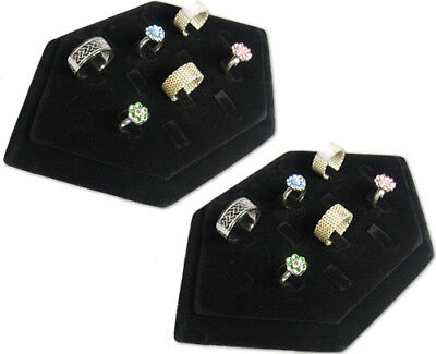 New 8 14 Clip Black Velvet Ring Jewelry Display Stand Case Rd48b2