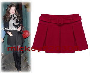 Free Shipping Hot Sell Folded Woolen Pleated Skirt With Belt /Vintage Chic Dress