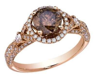 2.50 Ct Chocolate and White Diamond Engagement Wedding Ring 14K Rose Gold Finish