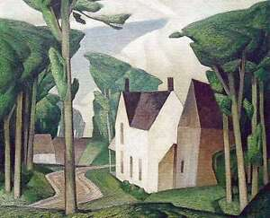 """A.J. Casson """"Village House Dark Green"""" Litho appraised at $1000"""