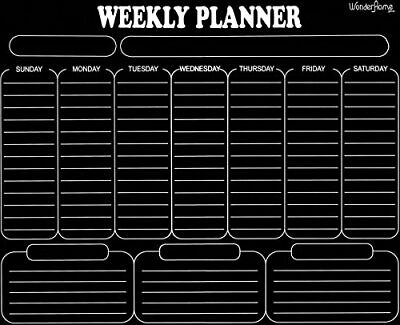 Magnetic Dry Erase Weekly Calendar - Black - With 8 Markers](Black Dry Erase Board)