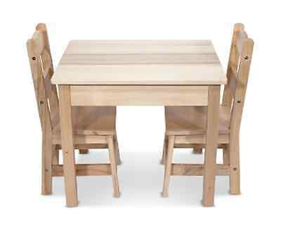 Kids Toddlers Melissa & Doug Wooden Table and 2 Chairs Pretend Play Set