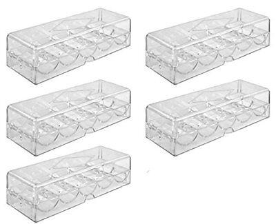 Poker Chip Tray Set für 500 Pokerchips - 5 Trays mit Deckeln für je 100 Chips