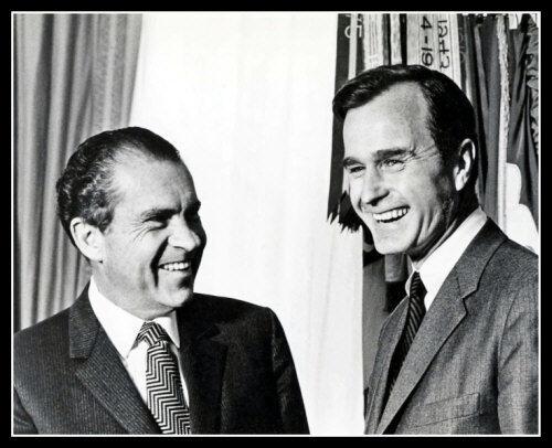 Richard Nixon George H W Bush Photo 8X10 President 1970 Congressman