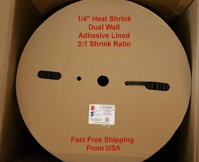 14 Black 31 Adhesive Lined Dual Wall Heat Shrink Tubing Roll 328 Foot Spool