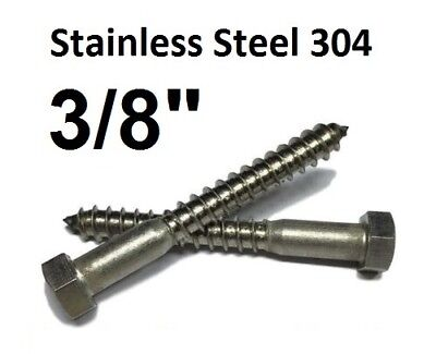 38 Stainless Steel Lag Screws Hex Head Lag Bolts - Select Length - Qty 100