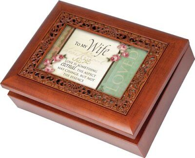 To My Wife Ornate Woodgrain Music Box/Jewelry Box Plays Unchained Melody