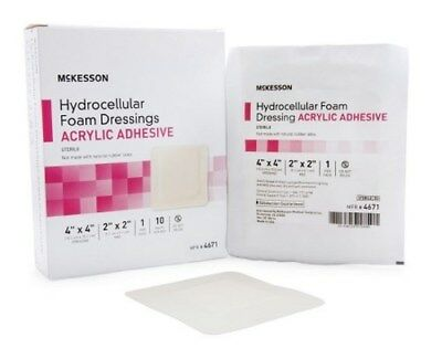 Foam Dressing McKesson 4 X 4 Inch Square Adhesive with Border Sterile Each/1