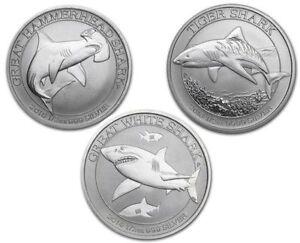 Ensemble 3 Pièces en argent/Set silver 2014-2016 1/2 oz Sharks