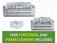 NEW 3 + 2 SILVER CRUSHED VELVET-SOFA SET INCLUDES FREE DELIVERY & FREE MATCHING STOOL FOR £289.99