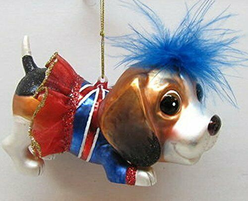 December Diamond glass dog Christmas ornament beagle British flag tutu 79-79237
