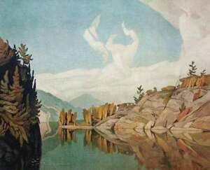 "A.J. Casson ""Morning on the Key River"" Litho appraised at $750"