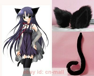 Halloween Lovely Party Anime Cosplay Kitty Cat ears and tail set Black Costume