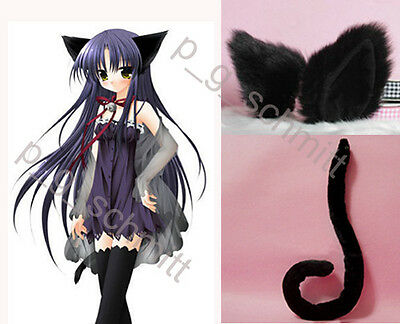 Halloween Cute Loveless Kitty Cat Ears and Tail with wire Black Set Cosplay  - Halloween Cats Ears And Tail