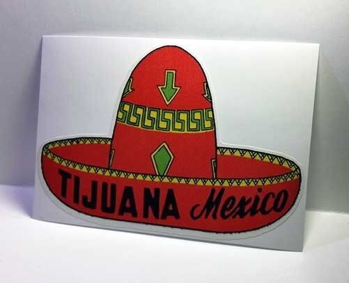 Tijuana Mexico Vintage Style Travel Decal / Vinyl Sticker, Luggage Label