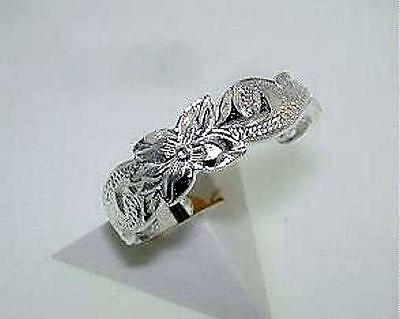 5.5mm Rhodium Over Sterling Silver Engraved Hawaiian Heritage Scrolls Toe Ring