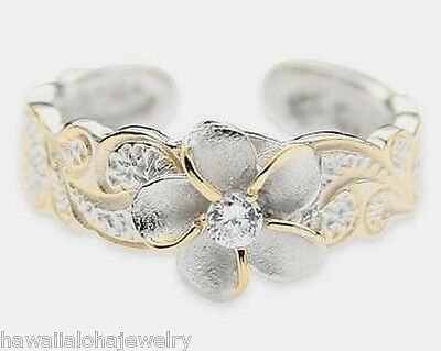 Sterling Silver 2-Tone Rhodium & 14k Gold Plumeria CZ Flower Hawaiian Toe Ring