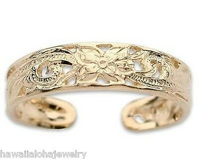 4.3mm Hawaiian 14k Yellow Gold Heritage Scroll Toe Ring