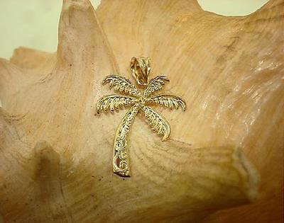 (14MM HAWAIIAN SOLID 14K YELLOW GOLD SMALL TEXTURED PALM TREE SCROLLS PENDANT)