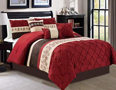 DCP 7-Piece Bedding Comforter Set Comfortable and Warm Burgundy, King