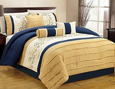 Yellow Comforter - DCP 7Pcs Luxury Embroidery Bed in Bag Microfiber Comforter Set Queen Blue/Yellow