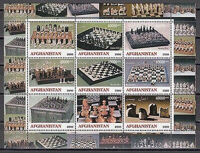 Afghanistan, 2000 Cinderella Ausgabe Schach Sets Blatt 9. 40000