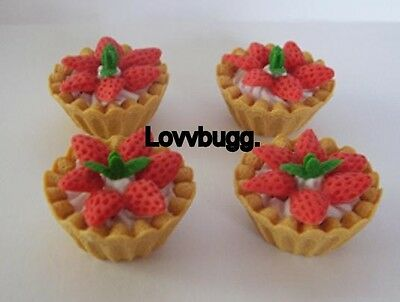 "Lovvbugg 4 Strawberry Tarts for 18"" American Girl Doll Food Accessory"
