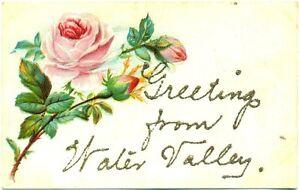 c-1909-WATER-VALLEY-KY-PINK-ROSES-EMBOSSED-GLITTER-GREETINGS-POSTCARD