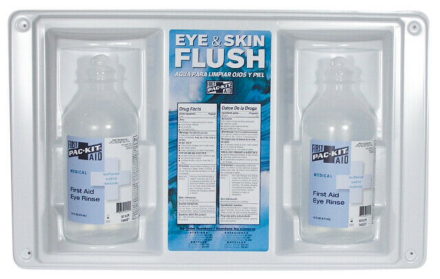 Emergency Eye & Skin Wash Station Two 16 oz Bottles Wall Mountable Set Kit Rinse