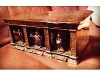 Unusual pickwick figures brass box / tin candle box