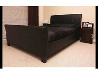 Brand new boxed kingsize leather bed and luxury memory foam mattress