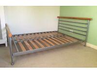 Double bed frame metal/beech £40 SSTC
