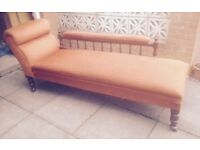 VINTAGE LARGE CHAISE LONGUE SOFA BED LOUNGER
