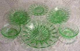 Green Depression Glass Plates and Bowls